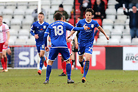 Perry Ng of Crewe Alexandra scores the first goal for his team and celebrates during Stevenage vs Crewe Alexandra, Sky Bet EFL League 2 Football at the Lamex Stadium on 10th March 2018