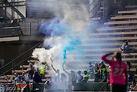 Seattle, WA - Sunday, April 17, 2016: Seattle Reign FC fans celebrate the goal during the second half of the match. Sky Blue FC defeated the Seattle Reign FC 2-1 during a National Women's Soccer League (NWSL) match at Memorial Stadium.