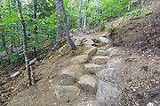 Newly built stone staircase along the Davis Path in the White Mountains, New Hampshire during the summer months. This is an example of stonework that has been built by a professional AMC trail crew.