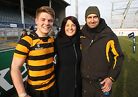 4 March 2013; RBAI skipper Josh Atkinson with school principal Janet Williamson and 1stXV coach Gavin Monteith after the schools cup semi-final clash between RBAI and Ballyclare High School at Ravenhill Belfast. Photo Credit : John Dickson / DICKSONDIGITAL