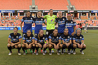 Houston, TX - Sunday June 19, 2016: FC Kansas City Starting XI prior to a regular season National Women's Soccer League (NWSL) match between the Houston Dash and FC Kansas City at BBVA Compass Stadium.