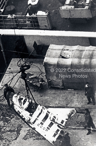 United States Department of Defense released its 1985 assessment of Soviet Military Power at the Pentagon in Washington, DC on April 2, 1985.  The release stated &quot;The Soviet space plane may well have an anti-satellite mission when operational is shown as it is being recovered from an unmanned test flight.&quot;<br /> Credit: Department of Defense via CNP