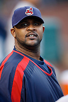 C.C. Sabathia of the Cleveland Indians during batting practice before a game from the 2007 season at Angel Stadium in Anaheim, California. (Larry Goren/Four Seam Images)