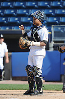 Staten Island Yankees catcher Isaias Tejeda (29) during game against the Connecticut Tigers at Richmond County Bank Ballpark at St.George on July 7, 2013 in Staten Island, NY.  Staten Island defeated Connecticut 6-2.  (Tomasso DeRosa/Four Seam Images)