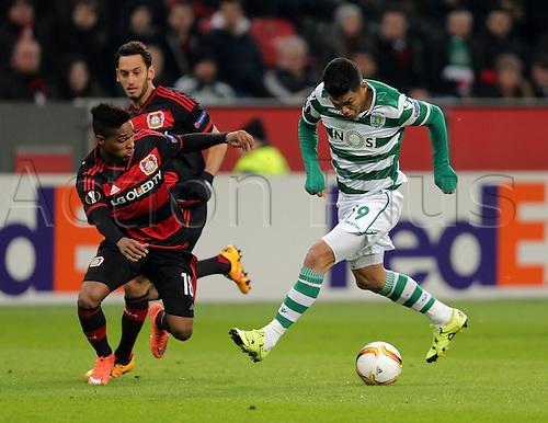 25.02.2016. Leverkusen, Germany. UEFA Europa League football. Bayer Leverkusen versus Sporting Lisbon.  Teofilo Gutierrez (Lisbon), Wendell (Leverkusen)