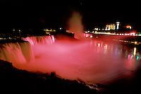 Niagara Falls, New York, NY, waterfall, American Falls, illumination, night, Niagara Falls