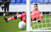 30th September 2017, Madejski Stadium, Reading, England; EFL Championship football, Reading versus Norwich City; Vito Mannone of Reading watches the ball rebound off the post