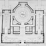 Pittsburgh PA:  View of a drawing created by Ingram & Boyd Architects of the new Buhl Planetarium.  This view is a close-up of the proposed 1st floor layout of the planetarium. The project was completed in 1939.  The Buhl Planetarium was built with monies from the Buhl Foundation; a foundation created by the wealthy North Side clothier Henry Buhl of Boggs and Buhl department store fame.  Brady Stewart was selected for the job due to his specialized equipment; an 8x10 Dierdorff camera, and his expertise in lighting and photographing large renderings and drawings.