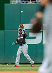 15 May 2016: Miami Marlins outfielder Marcell Ozuna in action against the Washington Nationals at Nationals Park in Washington, DC. The Marlins defeated the Nationals 5-1 in the final game of their 4-game series.  Mandatory Credit: Ed Wolfstein Photo *** RAW (NEF) Image File Available ***
