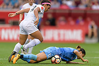 Bridgeview, IL - Sunday August 20, 2017: Desiree Scott, Yuki Nagasato during a regular season National Women's Soccer League (NWSL) match between the Chicago Red Stars and FC Kansas City at Toyota Park. KC Kansas City won 3-1.