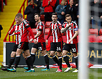 Billy Sharp of Sheffield Utd celebrates scoring the second goal during the English League One match at Bramall Lane Stadium, Sheffield. Picture date: April 17th 2017. Pic credit should read: Simon Bellis/Sportimage