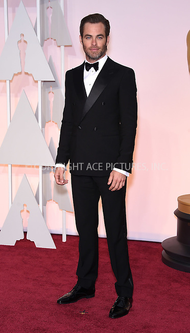 WWW.ACEPIXS.COM<br /> <br /> February 22 2015, LA<br /> <br /> Chris Pine arriving at the 87th Annual Academy Awards at the Hollywood &amp; Highland Center on February 22, 2015 in Hollywood, California<br /> <br /> <br /> By Line: Z15/ACE Pictures<br /> <br /> <br /> ACE Pictures, Inc.<br /> tel: 646 769 0430<br /> Email: info@acepixs.com<br /> www.acepixs.com