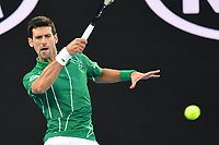 January 2, 2020: 2nd seed NOVAK DJOKOVIC (SRB) in action against 5th seed DOMINIC THIEM (AUT) on Rod Laver Arena in the Men's Singles Final match on day 14 of the Australian Open 2020 in Melbourne, Australia. Photo Sydney Low