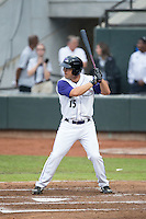 Nolan Early (15) of the Winston-Salem Dash at bat against the Carolina Mudcats at BB&T Ballpark on July 23, 2015 in Winston-Salem, North Carolina.  The Dash defeated the Mudcats 3-2.  (Brian Westerholt/Four Seam Images)