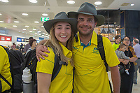 Welcome home / Joany Badenhorst with Lucas Prem<br /> PyeongChang 2018 Paralympic Games<br /> Australian Paralympic Committee<br /> Sydney International Airport<br /> PyeongChang South Korea<br /> Tuesday March 20th 2018<br /> &copy; Sport the library / Jeff Crow
