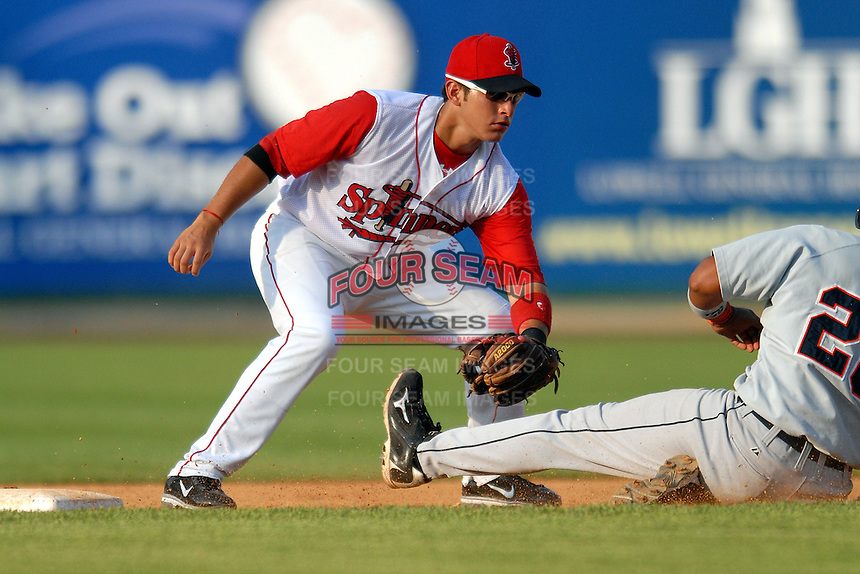 Infielder Joantoni Garca #11 of the Lowell Spinners during a game versus the Connecticut Tigers at LeLacheur Park in Lowell, Massachusetts on June 18, 2011. (Ken Babbitt/Four Seam Images)