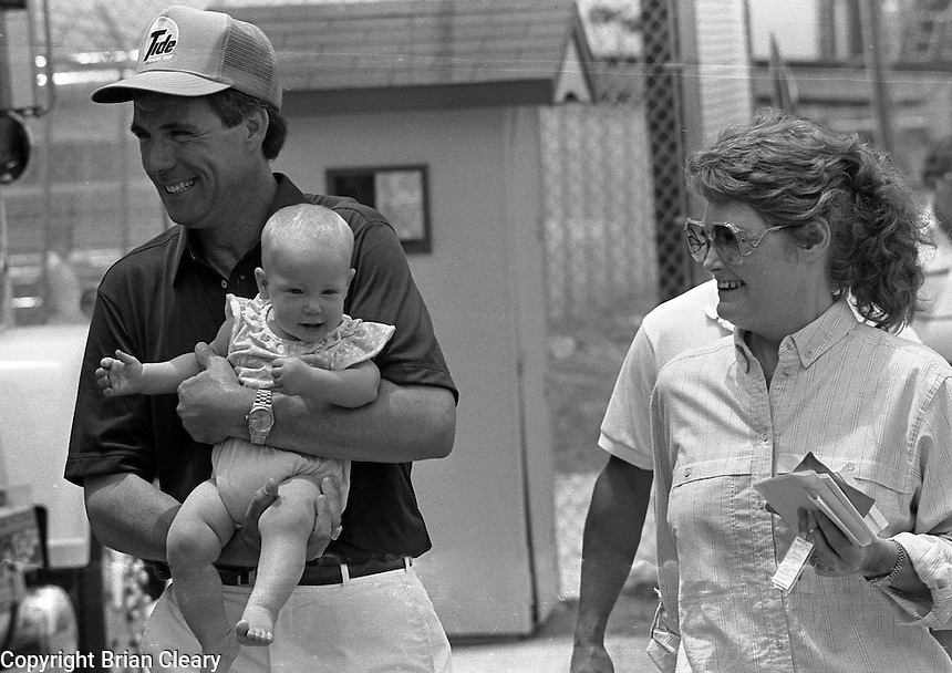Darrell Waltrip wife Stephie Waltrip daughter Jessica Waltrip  Pepsi Firecracker 400 at Daytona International Speedway in Daytona Beach, FL in July 1988. (Photo by Brian Cleary/www.bcpix.com)