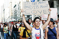 Dykes gather in New York City for the 13th annual Dyke March, on June 25, 2005.  The march is coordinated to precede the larger Gay Pride March on the following day, as part of the Gay Pride weekend.
