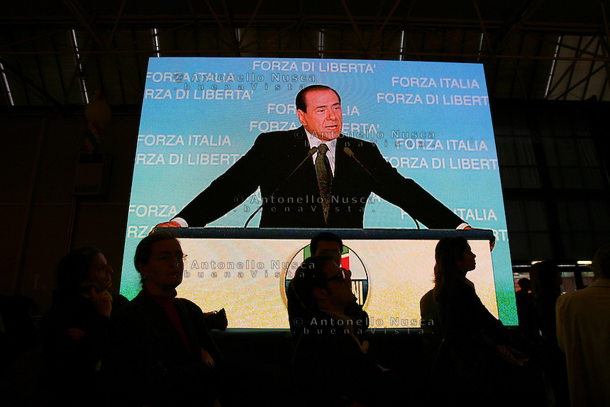 Roma, 5 aprile 2006. Chiusura campagna elettorale di Silvio Berlusconi alla Fiera di Roma