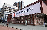 Nederland Amsterdam - September 2018.Zuidas. VU Medisch Centrum. Fusie met het Academisch Medisch Centrum (AMC). Op het witte doek staat het nieuwe logo. Amsterdam UMC. Foto Berlinda van Dam / Hollandse Hoogte