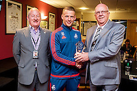 Stephen Kingsley receives award after the Barclays Premier League match between Swansea City and Manchester City played at the Liberty Stadium, Swansea on the 15th of May  2016