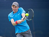 June 11th 2017, Nottingham, England; ATP Aegon Nottingham Open Tennis Tournament day 2;  Backhand from Barnaby Smith of Great Britain on his way to wining the first set after a tie break against Matthew Ebden of Australia