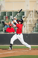 Brett Austin (20) of the Kannapolis Intimidators follows through on his swing against the Hickory Crawdads at CMC-Northeast Stadium on May 21, 2015 in Kannapolis, North Carolina.  The Intimidators defeated the Crawdads 2-0 in game one of a double-header.  (Brian Westerholt/Four Seam Images)