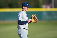 Catawba Indians third baseman Jackson Raper (14) during infield practice prior to the game against the Belmont Abbey Crusaders at Abbey Yard on February 7, 2017 in Belmont, North Carolina.  The Crusaders defeated the Indians 12-9.  (Brian Westerholt/Four Seam Images)