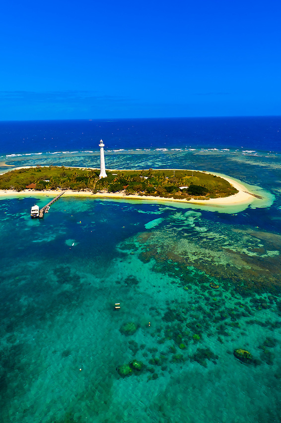 Aerial view, Le Phare Amedee (Amedee Lighthouse), New Caledonia Barrier Reef (a UNESCO World Heritage site), near Noumea, New Caledonia
