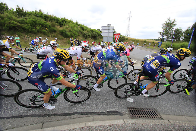 Riders including Simon Gerrans (AUS) Orica GreenEdge pass through Segre during Stage 3 of the 2016 Tour de France, running 223.5km from Granville to Angers, France . 4th July 2016.<br /> Picture: Eoin Clarke | Newsfile<br /> <br /> <br /> All photos usage must carry mandatory copyright credit (&copy; Newsfile | Eoin Clarke)