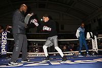 Boxer Gervonta Davis as Floyd Mayweather looks on during an Open Workout at York Hall on 17th May 2017