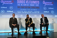 Frank Warren (L), Tommy Fury and John Rawling during a Press Conference at the BT Tower on 11th November 2019