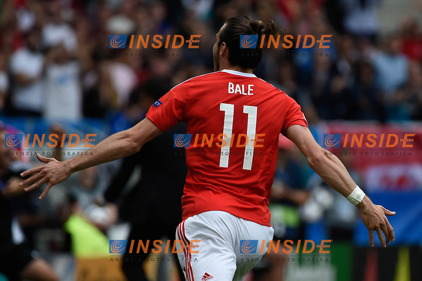 Esultanza Gol Gareth Bale Galles<br /> Bordeaux 11-06-2016 Stade de Brodeaux football Euro2016 Wales - Slovakia / Galles - Slovacchia Group Stage Group B. Foto Panoramic / Insidefoto