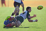 Mark Selwyn gets the pass away as he goes to ground in the Jeremy Corliss' tackle.  Counties Manukau Premier Rugby game between Ardmore Marist  and Manurewa played at Bruce Pulman Park Papakura on May 14th 2011. Ardmore Marist won 48 - 10 after leading 29 - 3 at halftime.