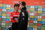 Chris Froome (GBR) Team Sky hugs stage winner Alberto Contador (ESP) Trek-Segafredo at the end of Stage 20 of the 2017 La Vuelta, running 117.5km from Corvera de Asturias to Alto de l'Angliru, Spain. 9th September 2017.<br /> Picture: Unipublic/&copy;photogomezsport | Cyclefile<br /> <br /> <br /> All photos usage must carry mandatory copyright credit (&copy; Cyclefile | Unipublic/&copy;photogomezsport)