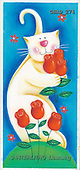 Addy, CUTE ANIMALS, paintings, white cat, tulips(GBAD274,#AC#)