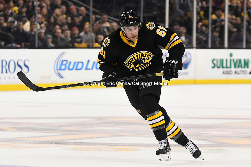 February 8, 2015 - Boston, Massachusetts, U.S. - Boston Bruins left wing Craig Cunningham (61) in game action during the NHL game between the Montreal Canadiens and the Boston Bruins held at TD Garden in Boston Massachusetts. The Canadiens defeated the Bruins 3-1 in regulation time. Eric Canha/CSM