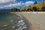 The Coeur d'Alene City beach on a windy autumn day. Coeur d'Alene, Idaho, USA
