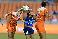 Houston, TX - Sunday June 19, 2016: Ellie Brush, Frances Silva during a regular season National Women's Soccer League (NWSL) match between the Houston Dash and FC Kansas City at BBVA Compass Stadium.