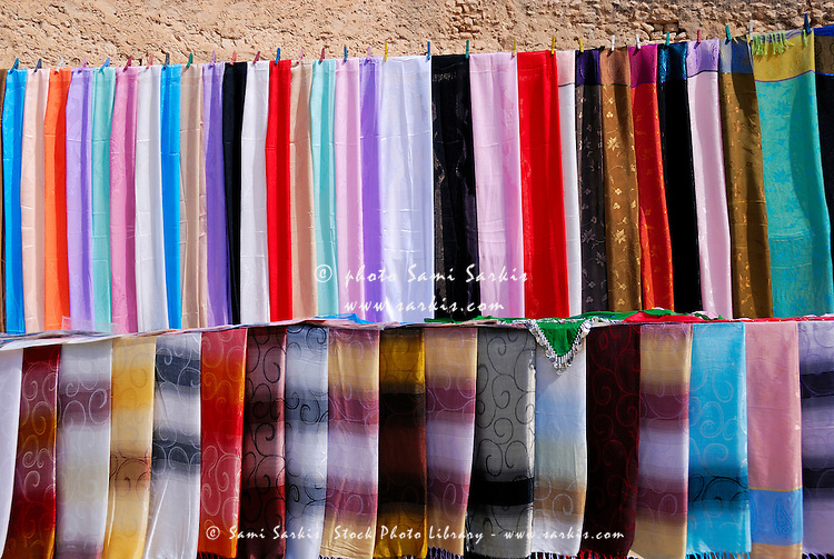 Coloured Tunisian scarves on display