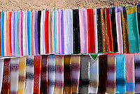 Coloured Tunisian scarves on display