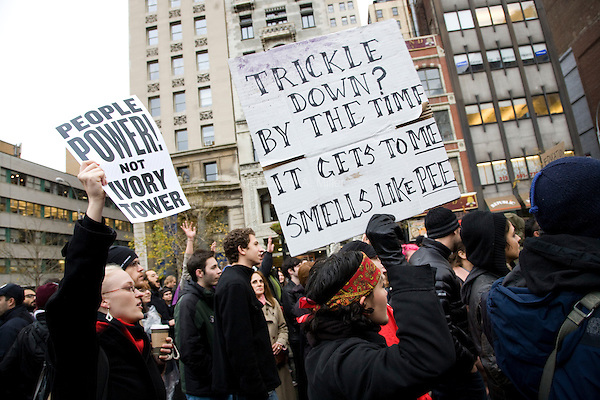 "Students, workers, and other supporters gather in Union Square Park to demonstrate continued solidarity with the Occupy Wall Street movement on its two month anniversary, which the movement has dubbed its ""Day of Action"" in New York City, New York on 17 November 2011."