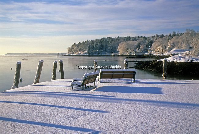 Fresh snow at the harbor in Rockport, Maine, USA