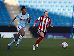 Sophie Barker of Sheffield Utd and Mel Johnson of Aston Villa during the The FA Women's Championship match at the Proact Stadium, Chesterfield. Picture date: 12th January 2020. Picture credit should read: Simon Bellis/Sportimage
