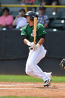 Clinton LumberKings Chris Mariscal (3) swings during the Midwest League game against the Beloit Snappers at Ashford University Field on June 12, 2016 in Clinton, Iowa.  The LumberKings won 1-0.  (Dennis Hubbard/Four Seam Images)