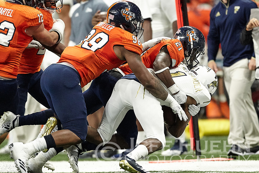 SAN ANTONIO, TX - NOVEMBER 10, 2018: The University of Texas at San Antonio Roadrunners fall to the Florida International University Panthers 45-7 in the Alamodome. (Photo by Jeff Huehn)