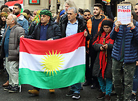 Demonstration and March thru Central London protesting against the Turkish Invasion of Rojava district, a Kurdish controlled area in North Eastern Syria. October 13th 2109<br /> <br /> Photo by Keith Mayhew
