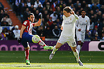 Real Madrid´s Luka Modric (R) and Atletico de Madrid´s Koke during 2015/16 La Liga match between Real Madrid and Atletico de Madrid at Santiago Bernabeu stadium in Madrid, Spain. February 27, 2016. (ALTERPHOTOS/Victor Blanco)