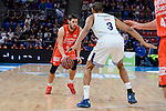 Real Madrid's Anthony Randolph and Valencia Basket's Sam Van Rosso during 2017 King's Cup match between Real Madrid and Valencia Basket at Fernando Buesa Arena in Vitoria, Spain. February 19, 2017. (ALTERPHOTOS/BorjaB.Hojas)