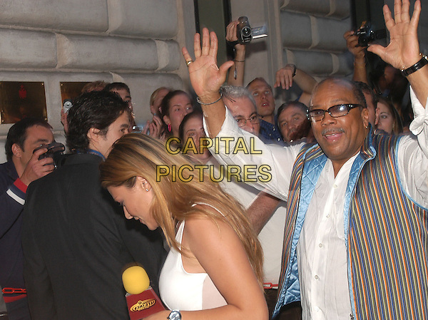 QUINCY JONES.Russie Hotel, Rome, Italy.May 17th, 2004.half length, half-length, striped vest, arms in air, gesture.www.capitalpictures.com.sales@capitalpictures.com.© Capital Pictures.